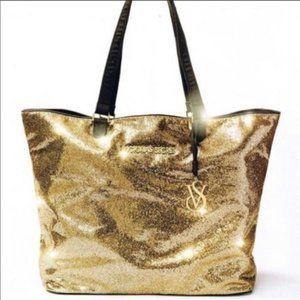 Victoria's Secret Gold Glitter Oversized Tote